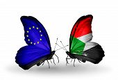 Two Butterflies With Flags On Wings As Symbol Of Relations Eu And Sudan