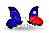 Two Butterflies With Flags On Wings As Symbol Of Relations Eu And Taiwan