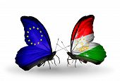 Two Butterflies With Flags On Wings As Symbol Of Relations Eu And Tajikistan