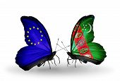Two Butterflies With Flags On Wings As Symbol Of Relations Eu And Turkmenistan