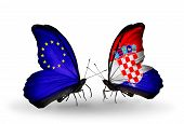Two Butterflies With Flags On Wings As Symbol Of Relations Eu And Croatia