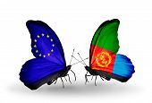 Two Butterflies With Flags On Wings As Symbol Of Relations Eu And Eritrea