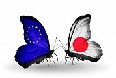 Two Butterflies With Flags On Wings As Symbol Of Relations Eu And Japan