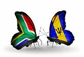 Two Butterflies With Flags On Wings As Symbol Of Relations South Africa And Barbados