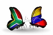Two Butterflies With Flags On Wings As Symbol Of Relations South Africa And Venezuela