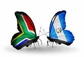 Two Butterflies With Flags On Wings As Symbol Of Relations South Africa And Guatemala