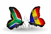 Two Butterflies With Flags On Wings As Symbol Of Relations South Africa And Moldova