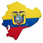 detailed illustration of a map of Ecuador with flag, eps10 vector