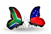 foto of samoa  - Two butterflies with flags on wings as symbol of relations South Africa and Samoa - JPG