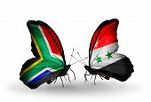 Two Butterflies With Flags On Wings As Symbol Of Relations South Africa And Syria