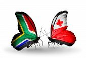 Two Butterflies With Flags On Wings As Symbol Of Relations South Africa And Tonga