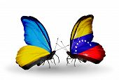 Two Butterflies With Flags On Wings As Symbol Of Relations Ukraine And Venezuela