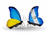 Two Butterflies With Flags On Wings As Symbol Of Relations Ukraine And Guatemala