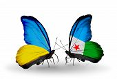 Two Butterflies With Flags On Wings As Symbol Of Relations Ukraine And Djibouti