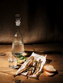 Dried Capelin With Glass Of Vodka And Bread
