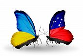 image of samoa  - Two butterflies with flags on wings as symbol of relations Ukraine and Samoa - JPG