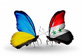 Two Butterflies With Flags On Wings As Symbol Of Relations Ukraine And Syria
