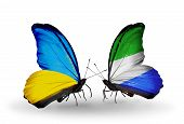 Two Butterflies With Flags On Wings As Symbol Of Relations Ukraine And Sierra Leone