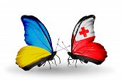 Two Butterflies With Flags On Wings As Symbol Of Relations Ukraine And Tonga