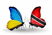Two Butterflies With Flags On Wings As Symbol Of Relations Ukraine And Trinidad And Tobago