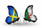 Two Butterflies With Flags On Wings As Symbol Of Relations Sweden And Algeria