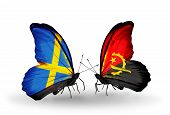 Two Butterflies With Flags On Wings As Symbol Of Relations Sweden And Angola