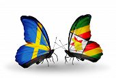 Two Butterflies With Flags On Wings As Symbol Of Relations Sweden And Zimbabwe