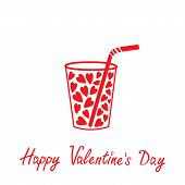 Glass With Straw And Hearts Inside. Happy Valentines Day Card.