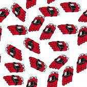 dynamite bomb seamless pattern on white