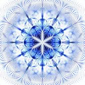 Symmetrical Fractal Flower Blue, Digital Artwork For Creative Graphic