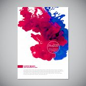Business template with pink and blue ink in water