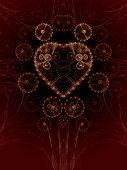 stock photo of steampunk  - Steampunk abstract illustration with a heart made of gears - JPG