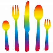Cutlery Rainbow Colored
