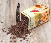 Coffee, fresh aromatic coffee beans in a metal box
