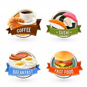 pic of hamburger  - Breakfast labels set with coffee sushi fried egg fast food hamburger isolated vector illustration - JPG