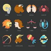 picture of scorpio  - Twelve zodiac constellation astrological signs icons set isolated vector illustration - JPG