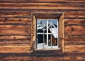 wooden hut in the window