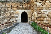 picture of crusader  - The ancient crusader fortress on the coast of the mediteraanean sea - JPG
