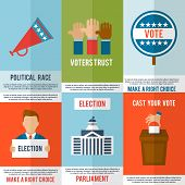 image of debate  - Election voting and debate mini poster set isolated vector illustration - JPG