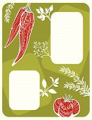 Menu Design With Vegetables And Herbs Silhouettes