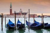 Постер, плакат: Gondolas In Front Of San Giorgio Maggiore