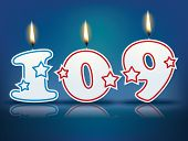 Birthday candle number 109 with flame - eps 10 vector illustration