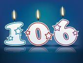Birthday candle number 106 with flame - eps 10 vector illustration