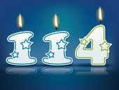 Birthday candle number 114 with flame - eps 10 vector illustration