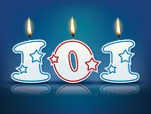 Birthday candle number 101 with flame - eps 10 vector illustration