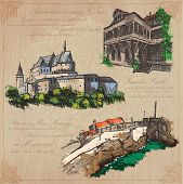 Places and architecture - colored vector pack