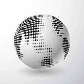 vector globe icon with dots