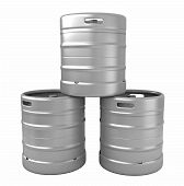 foto of keg  - 3d render of beer kegs isolated over white background - JPG