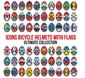Big set of Bicycle mountain bike helmet with flags different countries.