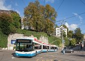 Trolleybus Passing the Central Square In Zurich